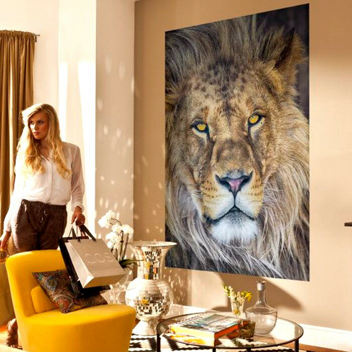 [500円OFFクーポン×イーグルス感謝祭]壁紙 のりなし のり付き おしゃれ クロス 輸入壁紙 紙 店舗 内装 撮影 ドイツ製 動物 アニマル 自然 [Lion/ライオン]1-619