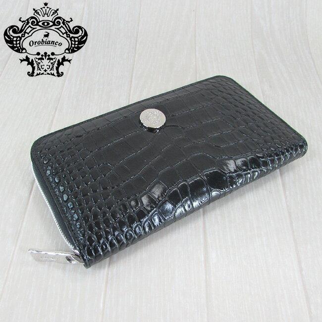 OROBIANCO オロビアンコ 長財布 メンズ ラウンドファスナー 財布 小物 クロコ型押しレザー Intra-F/ブラック