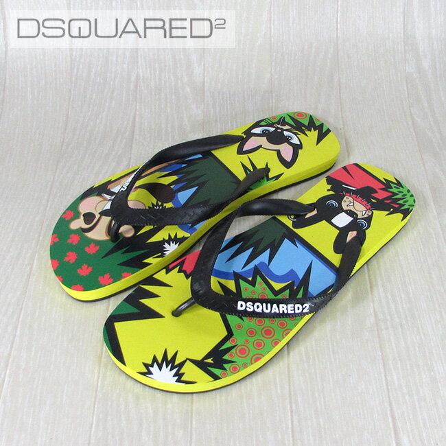 ディースクエアード DSQUARED2 ビーチサンダル サンダル ビーサン メンズ 靴 FF102 172/M037/ブラック×イエロー サイズ:39〜43