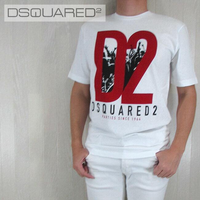 ディースクエアード DSQUARED2 メンズ Tシャツ 半袖 丸首 カットソー S71GD0485100/ホワイト サイズ:L/XL/XXL