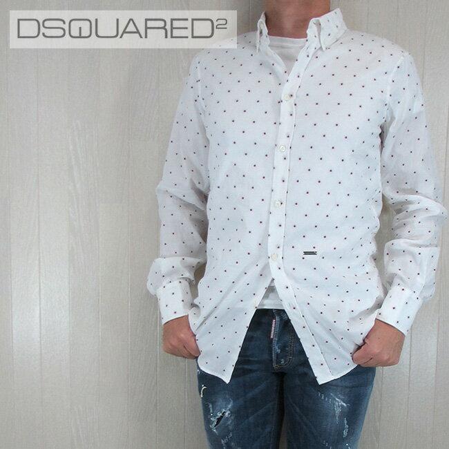 ディースクエアード DSQUARED2 メンズ シャツ カジュアルシャツ トップス S74DL0873001F/ホワイト サイズ:46〜52