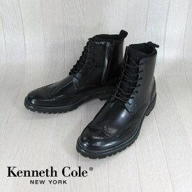 Kenneth Cole ケネスコールブーツ ウイングチップ レースアップブーツ CLICK HERE/KMF5XL002/001/ブラック 黒 サイズ:41/42/43