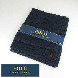 ラルフローレン Ralph Lauren マフラー ニットキャップ セット ニット帽 メンズ レディース ユニセックス PC0190 / 433 / ネイビー 紺
