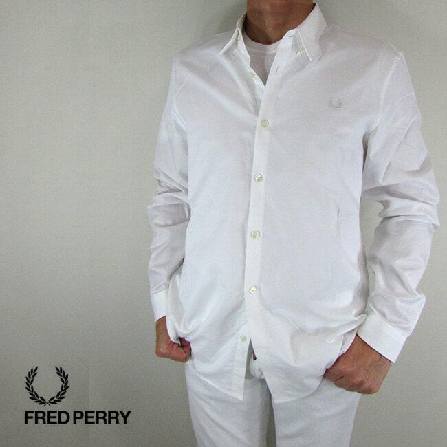 フレッドペリー FRED PERRY シャツ メンズ トップス 長袖 カジュアル M4533-27 / 100 / ホワイト サイズ:L/XL/XXL