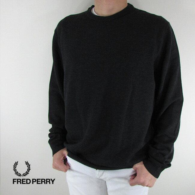 フレッドペリー FRED PERRY メンズ ニット セーター 長袖 トップス K4501-27 / 112 / グレー/ブラック サイズ:XL/XXL