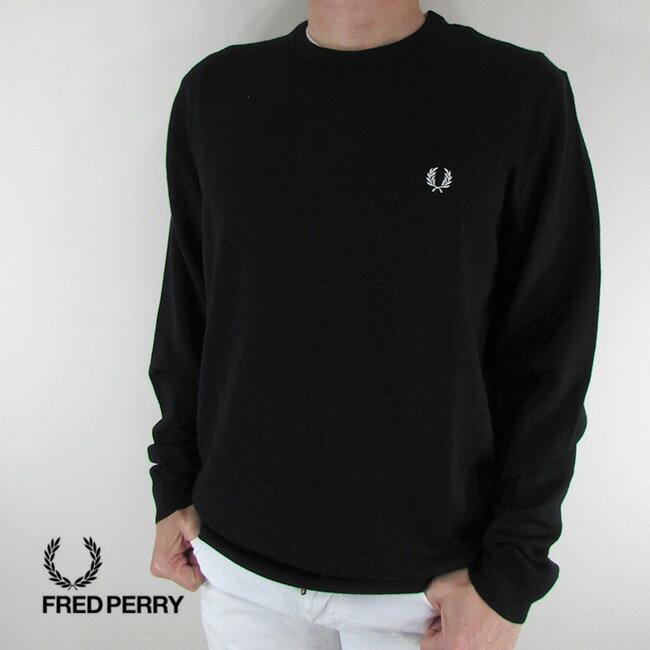 フレッドペリー FRED PERRY メンズ ニット セーター 長袖 トップス K4501-27 / 102 / ブラック/ホワイト サイズ:L/XL/XXL