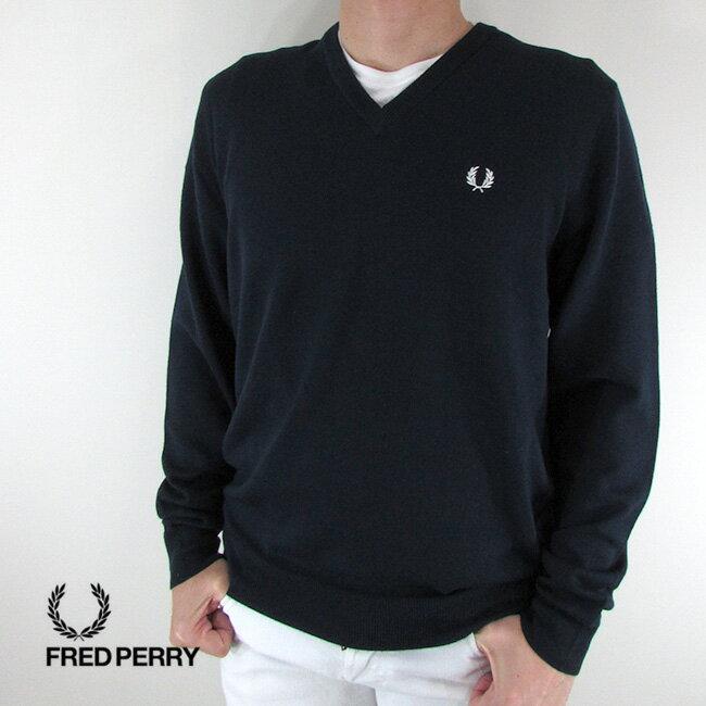 フレッドペリー FRED PERRY メンズ ニット セーター 長袖 トップス K4500-27 / 395 / ネイビー/ホワイト サイズ:M〜XXL