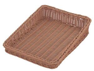 おしゃれ で かわいい 洗えて 衛生的 食品 & 小物 斜め型 フード バスケット ブラウン 食洗対応 600×400mm