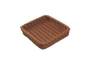 おしゃれ で かわいい 洗えて 衛生的 食品 & 小物 角型 デコレートエッジ フード バスケット ブラウン 食洗機対応 300×300mm