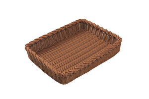 おしゃれ で かわいい 洗えて 衛生的 食品 & 小物 角型 デコレートエッジ フード バスケット ブラウン 食洗機対応 400×300mm
