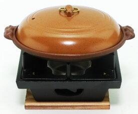 懐石 鍋 セット 陶板焼き + 五徳が両面使える いろりコンロ セット (木台 ・ 火皿 付)  固形燃料 使用タイプ 日本製 国産