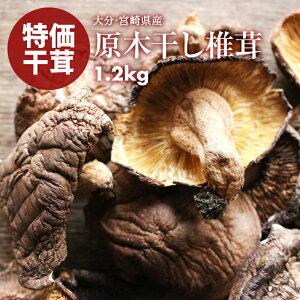 【送料無料】 国産 原木 椎茸 大分産 宮崎産 訳あり 無選別 原木干ししいたけ 干し椎茸 1.2kg(80g×15)お試し 原木椎茸 買い回り