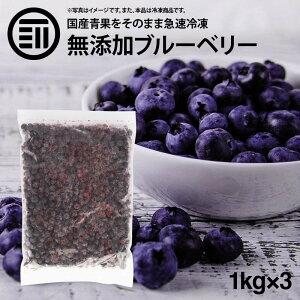 国産 熊本県産 ブルーベリー 冷凍 1kg(1000g) x 3袋 無添加 ばら バラ ぶるーべりー アントシアニン 食物繊維 果物 果実 フルーツ おやつ トッピング ヨーグルト ジャム スムージー ジュース お徳