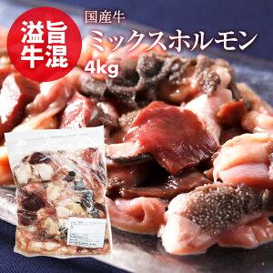 新商品 国産 牛 ミックス ホルモン 4kg(400g×10) お徳用 小腸 センマイ 心臓 ギアラ 盲腸 もつ鍋 焼肉 焼き肉 ホルモン焼き バーベキュー うどん 使いたい分だけ使える 鮮度の高い もつ 急速