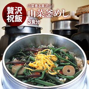 国産 | 山菜釜飯 の具 ( 3人前 )| 水を使わず即席で美味しい | 早炊き米 ・ 具 入り 釜めしの素 のセット | 料亭の味 炊き込みご飯