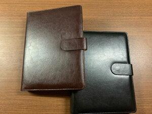 合成皮革製 バインダーファイルノート A5サイズ20穴 黒 茶色