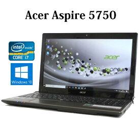 【送料無料】Acer Aspire 5750-F78F/LKF3【Core i7/8GB/750GB/ブルーレイ/15.6型/無線LAN/Windows10/Webカメラ】【中古】【中古パソコン】【ノートパソコン】