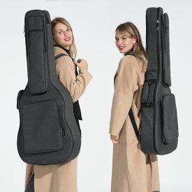 CAHAYA 【18mmスポンジ】 アコースティックギター ギグバッグ ネックピロー付き (特許番号No 007468509-0002) フォークギターバッグ アコギギター セミハード ギターケース 5つの大容量ポケット 肩掛け 手提げ 高端バッグ (ブラック)