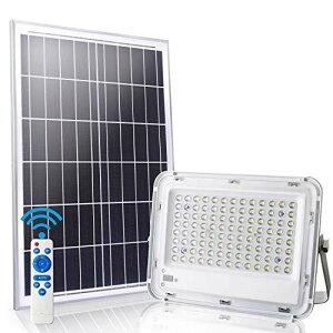 LEDMO 100W LED フラッドライト 屋外 ソーラーライト、LED 投光器リモコン付き、リモコン距離10M、スマートオン/オフ IP65防水 7000K、納屋、ガレージ、庭園、プール、体育館で使用される100LEDsの非