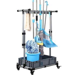 QTJH ほうきとモップホルダー 濡れたモップを移動可能 床取り付けモップラック 床置き掃除ツールカートストレージ ガーデンガレージ学校 病院 工場 ホテル 不動産会社 モップ排水ラック。