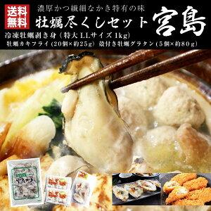 送料無料 冷凍 大粒 牡蠣むき身 カキフライ カキグラタン 広島県産 牡蠣尽くしセット 宮島 gd132