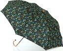 LIBERTYリバティプリントを使った晴雨兼用折り畳み傘パラソル(日傘)<Maria>(マリア)BKブラック 970000