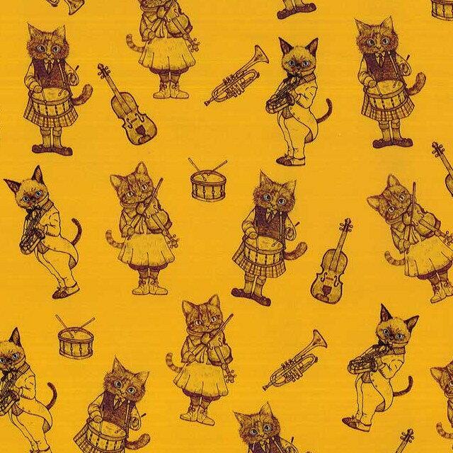 Ringoリンゴ オックス生地<Music Cat>(ミュージックキャット)マスタードイエロー【RIH-2B】