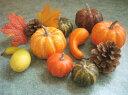 【花材】造花・ハロウィン かぼちゃ ナチュラルパンプキンミックス 1袋