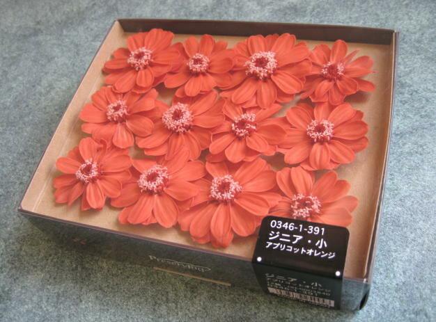 【花材】プリザーブドフラワー 大地農園ジニア・小1箱12輪入り アプリコットオレンジ