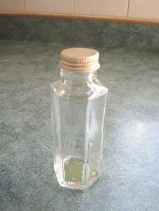 【花材】花器・ハーバリウム用 細口ガラス瓶ミニ六角型・ネジ栓付き1箱8本入り