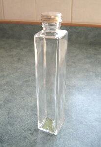 【花材】花器・ハーバリウム用 細口ガラス瓶角柱型・ネジ栓付き1箱4本入り