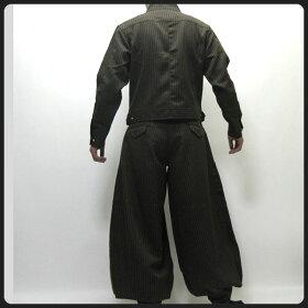 【寅壱/寅一】ピンストライプライダースジャケット&超超ロング八分ズボン上下セット4309シリーズ72.トビ茶(4309s554418)