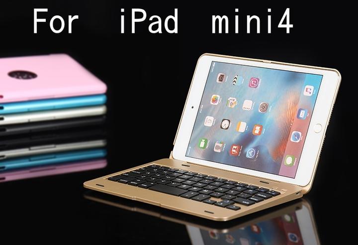 F1/F1+ iPad mini4/mini3/mini2/mini1選択 Bluetooth ワイヤレス キーボード ハード ケース ノートブックタイプ (ローズゴールド、ゴールド、シルバー、ブラック、ブルー、ピンク、レッド)7カラー選択