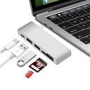 USB-C 5in1 カードリーダー&USB3.0×2ポート ハブ付 Cメス給電ポート付 アダプタ USB3.1 Type C to SD/SDHC UHS-I...