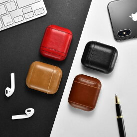 【正規品】iCARER アップル AirPods エアポッズ用 本革 ビンテージレザー AirPods 保護ケース セットしたまま充電可能 エアポッズケース (ブラック、ブラウン、カーキ、レッド)4カラー選択