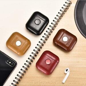 【正規品】iCARER アップル AirPods エアポッズ用 本革 ビンテージレザー 保護ケース ハンドスピナ セットしたまま充電可能 エアポッズケース エアポッズ レザーケース(ブラック、ブラウン、