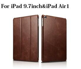 【正規品】iCARER NEW iPad 9.7インチ 第5世代 2017/第6世代 2018/iPad Air Air2/ Pro 9.7インチ選択 本革 ビンテージ レザー スマート ケース 三つ折り スタンド オートスリープ機能付(ブラック、ブラウン、レッド) 3カラー選択