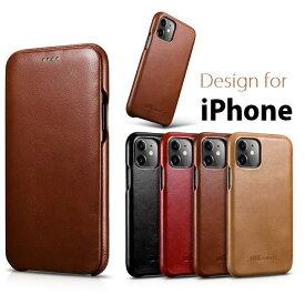 【正規品】iCARER iPhone X/XS/XS Max/XR/11/11 Pro/11 Pro Max対応機種選択 本革 手帳型 曲線 エッジ ビンテージ レザー フリップ ケース マグネット吸着 Curved Edge G150(ブラック、ブラウン、レッド、カーキ)4カラー選択