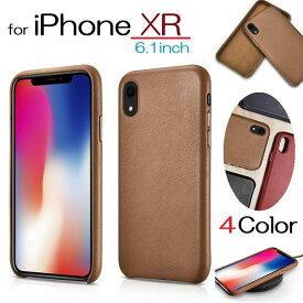 送料無料【正規品】iCARER iPhone XR 6.1インチ用 オリジナル 牛革 本革 レザー バック カバー 保護ケース バンパー(ブラック、ブラウン、ネイビー、レッド)4カラー選択