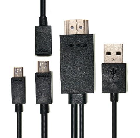 送料無料 Galaxy/Xperia/HTC/ARROWS/AQUOS通用 micro USB to HDMI 変換ケーブル MHL-HDMI 2m オスーオス ブラック 1080P マイクロ5ピン&11ピン対応 micro 5ピン-11ピン変換ケーブル付