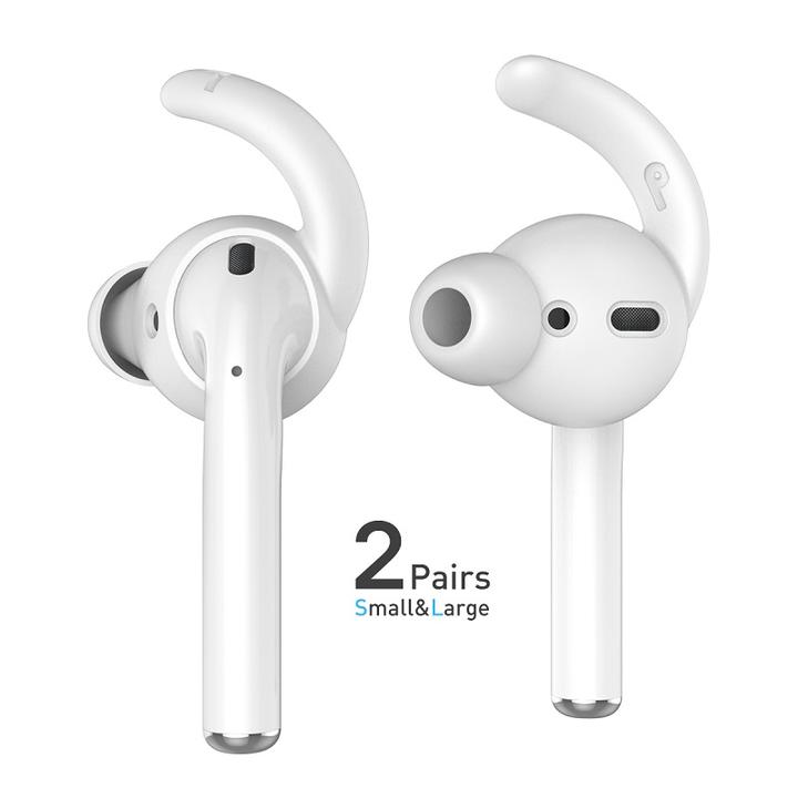 送料無料 AHASTYLE アップル AirPods&Ear Pods エアポッズ イヤポッズ用 シリコン イヤフック カバー 密閉式 脱落防止 脱着簡単 大、小2ペアセット入り シリコン携帯ケース付き(ブラック、ホワイト)2カラー選択