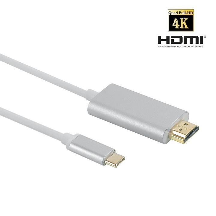 送料無料 USB C - HDMI変換ケーブル 4K2K オスーオス 3m シルバー USB 3.1 Type C to HDMI コンバータ 音声サポート HDMI4K for MacBook 12inch、ChromeBook Pixel 2160P/1080P Full HD video streams