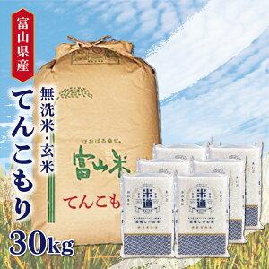 米 30kg 送料無料 白米 無洗米 てんこもり 5kg×6 新米 令和二年産 富山県産 30キロ お米 玄米 ごはん一等米 単一原料米 保存食 真空パック 高級 保存米
