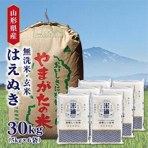 米 30kg 送料無料 白米 無洗米 はえぬき 5kg×6 新米 令和二年産 山形県産 30キロ お米 ごはん 米 検査米 単一原料米 玄米 保存食 無洗米 真空パック