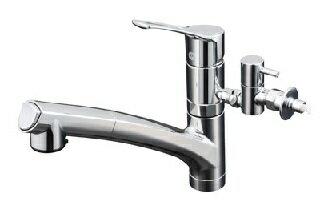 【最安値挑戦中!最大22倍】混合栓 KVK KM5021TTU 流し台用シングルレバー式シャワー付混合栓