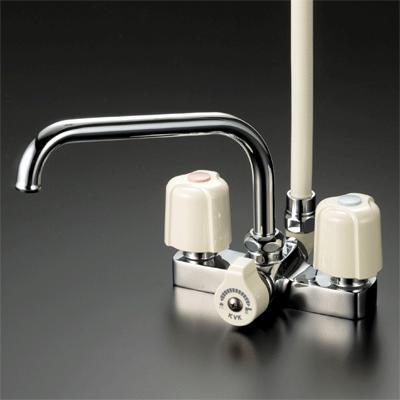 【最安値挑戦中!最大24倍】シャワー水栓 KVK KF14E デッキ形2ハンドルシャワー 取付ピッチ120mm [〒]