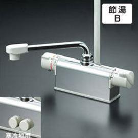 【最安値挑戦中!最大34倍】シャワー水栓 KVK KF771R3 デッキ形サーモスタット式シャワー 取付配管ピッチ100mmタイプ 300mmパイプ付
