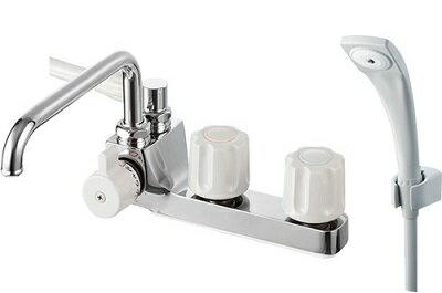【最安値挑戦中!最大34倍】水栓金具 三栄水栓 SK71041L-LH-13 U-MIX ツーバルブデッキシャワー混合栓(一時止水) バスルーム用 [□]