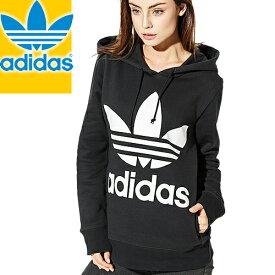アディダス パーカー レディース スウェット 大きめ おしゃれ ブランド 黒 ブラック 薄手 裏起毛 オリジナルス adidas Originals TREFOIL W HOODIE CE2408