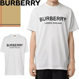 バーバリー BURBERRY Tシャツ 半袖 メンズ 2021年春夏新作 ブランド クルーネック ロゴ プリント 綿100% 大きいサイズ トップス インナー 白 ホワイト Logo Print Cotton T-shirt 8026017 1002 [ゆうパケ発送]